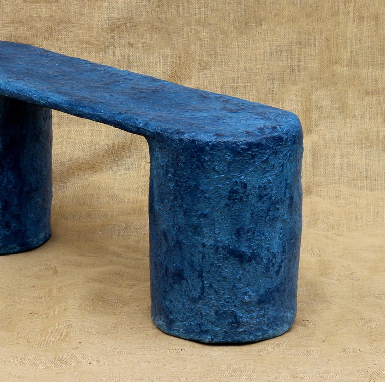 Indigo Blue Paper Pulp Dual Bench by Serra Studio In New Condition For Sale In Brooklyn, NY