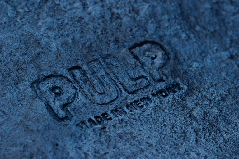 Contemporary Indigo Blue Paper Pulp Dual Bench by Serra Studio For Sale