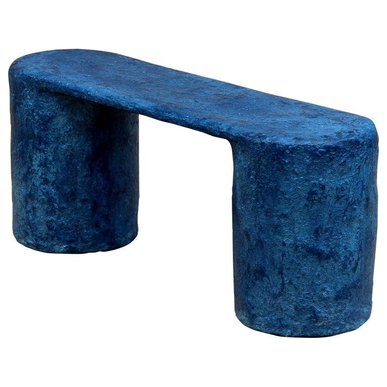 Indigo Blue Paper Pulp Dual Bench by Serra Studio For Sale