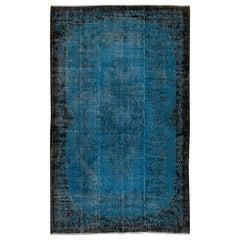Indigo Blue Re-Dyed Vintage Rug, Hand-Knotted Baroque Design Carpet