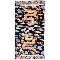 Indigo Blue, Red, Green, Orange Wool Tibetan Double Dragon Area Rug