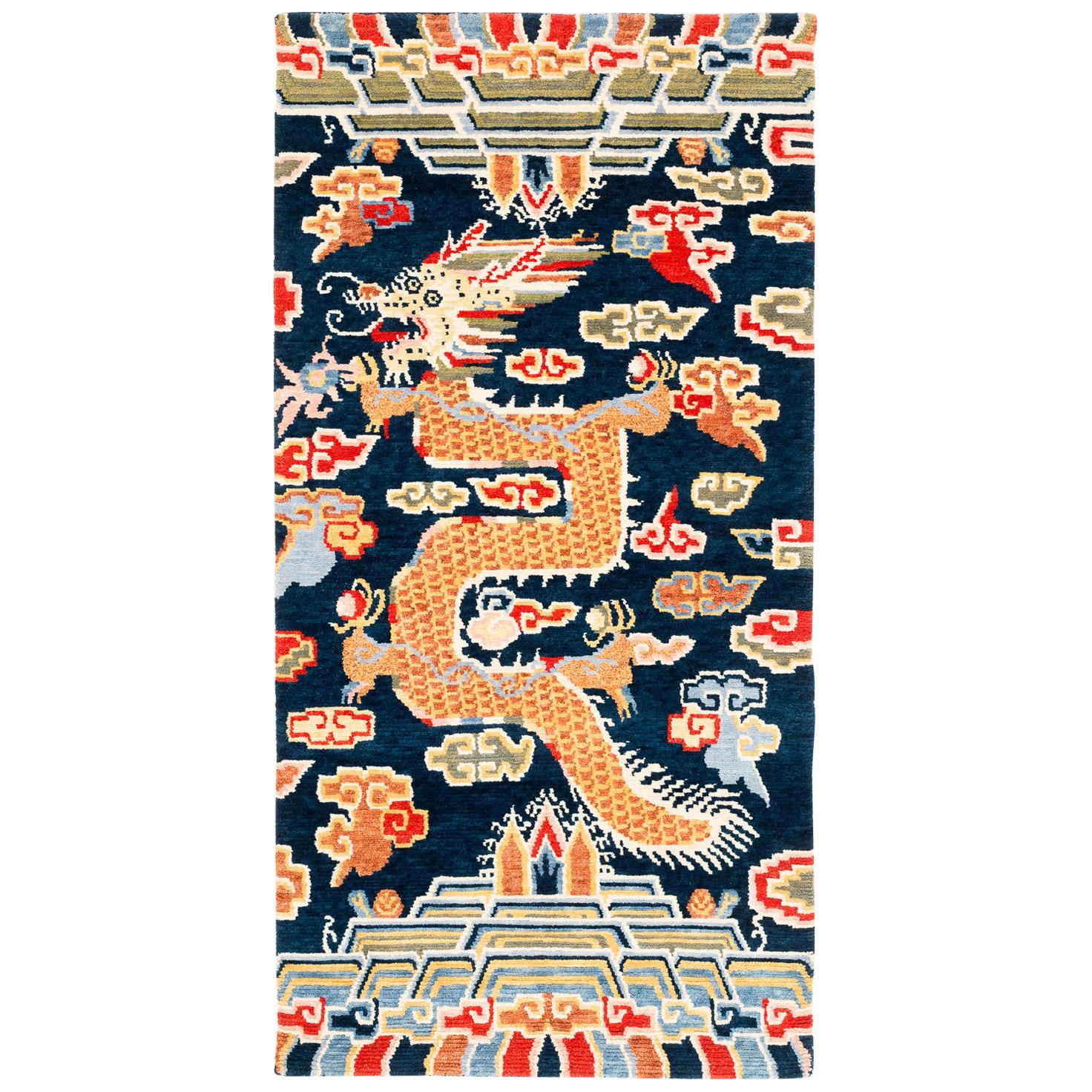 Indigo Blue, Red, Green, Orange Wool Tibetan Dragon Area Rug