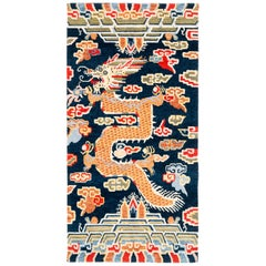 Indigo Blue, Red, Green, Orange Wool Tibetan Dragon Area Rug