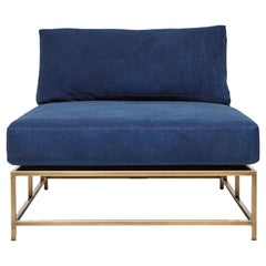 Indigo Canvas and Antique Brass Chaise Lounge
