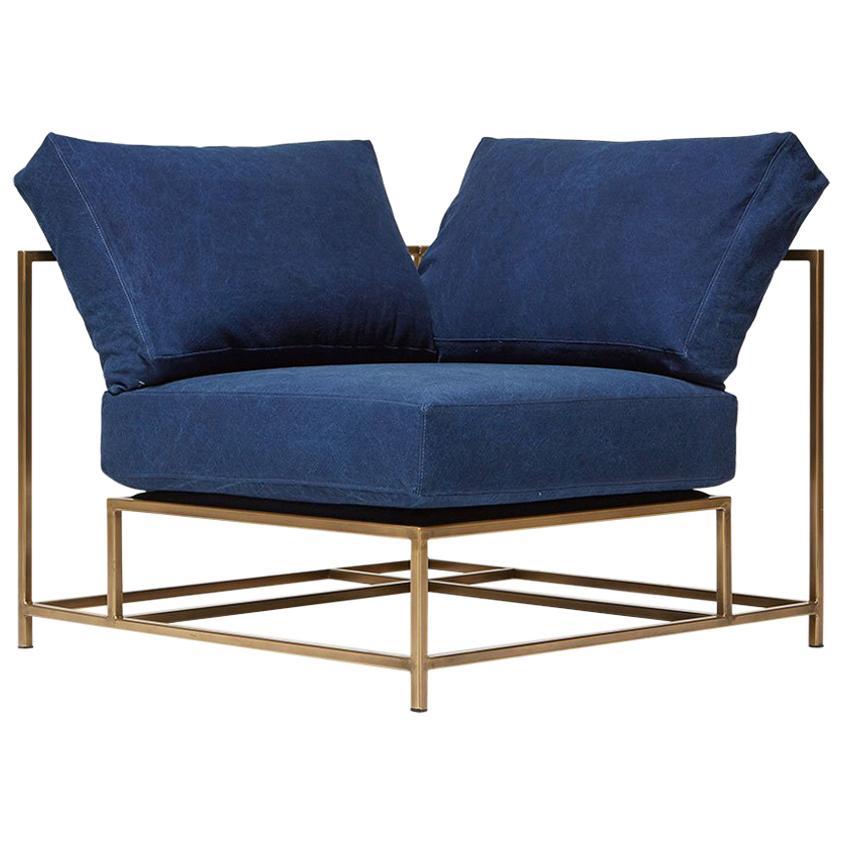 Indigo Canvas and Antique Brass Corner Chair