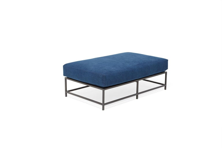 Modern Indigo Canvas and Blackened Steel Bench For Sale