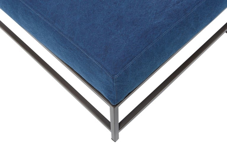 American Indigo Canvas and Blackened Steel Bench For Sale
