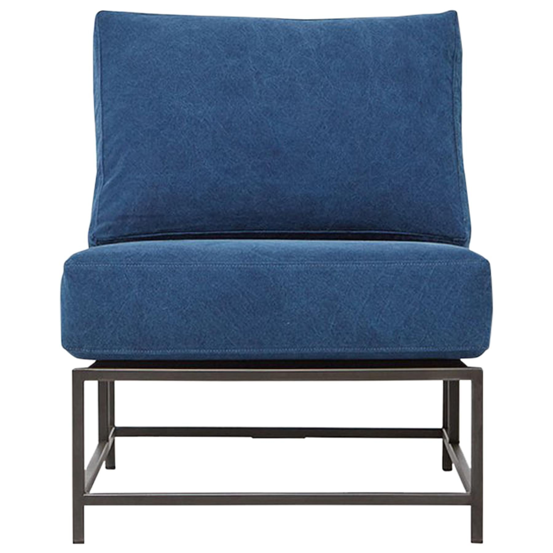 Indigo Canvas and Blackened Steel Chair