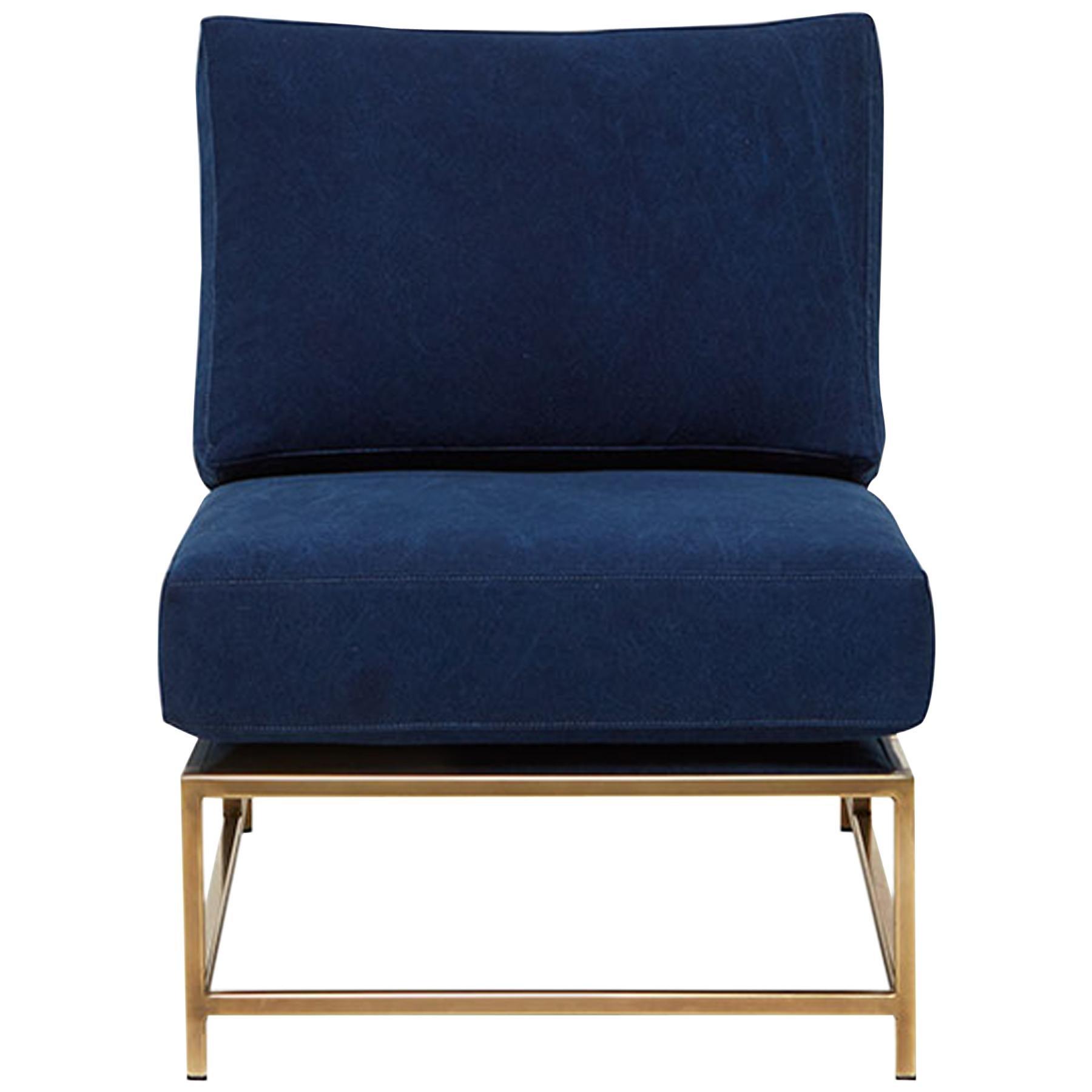 Indigo Canvas & Tarnished Brass Chair