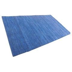 Indigo Denim Blue Suede Contemporary Flat-Weave Handwoven Area Rug