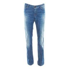 Indigo Faded Effect Distressed Denim Straight Fit Cute Jeans L