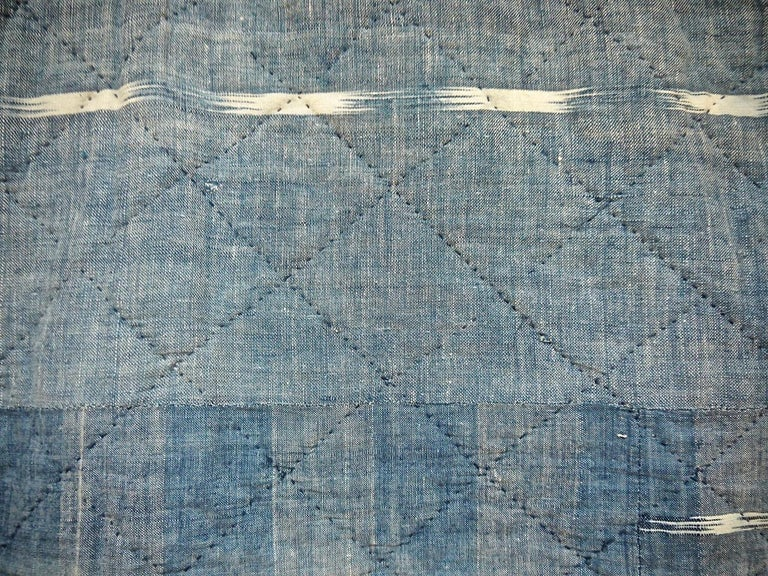 Indigo Flamme Ikat Cotton Pelmet French 19th Century In Good Condition For Sale In London, GB