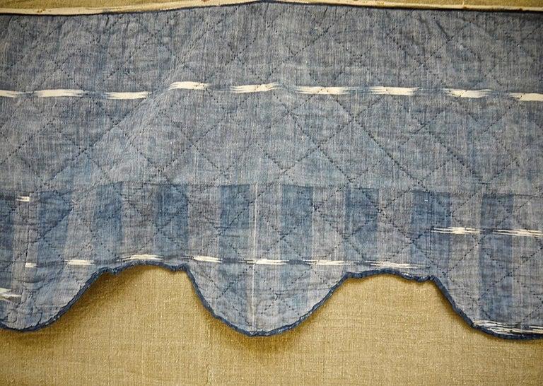 Indigo Flamme Ikat Cotton Pelmet French 19th Century For Sale 1
