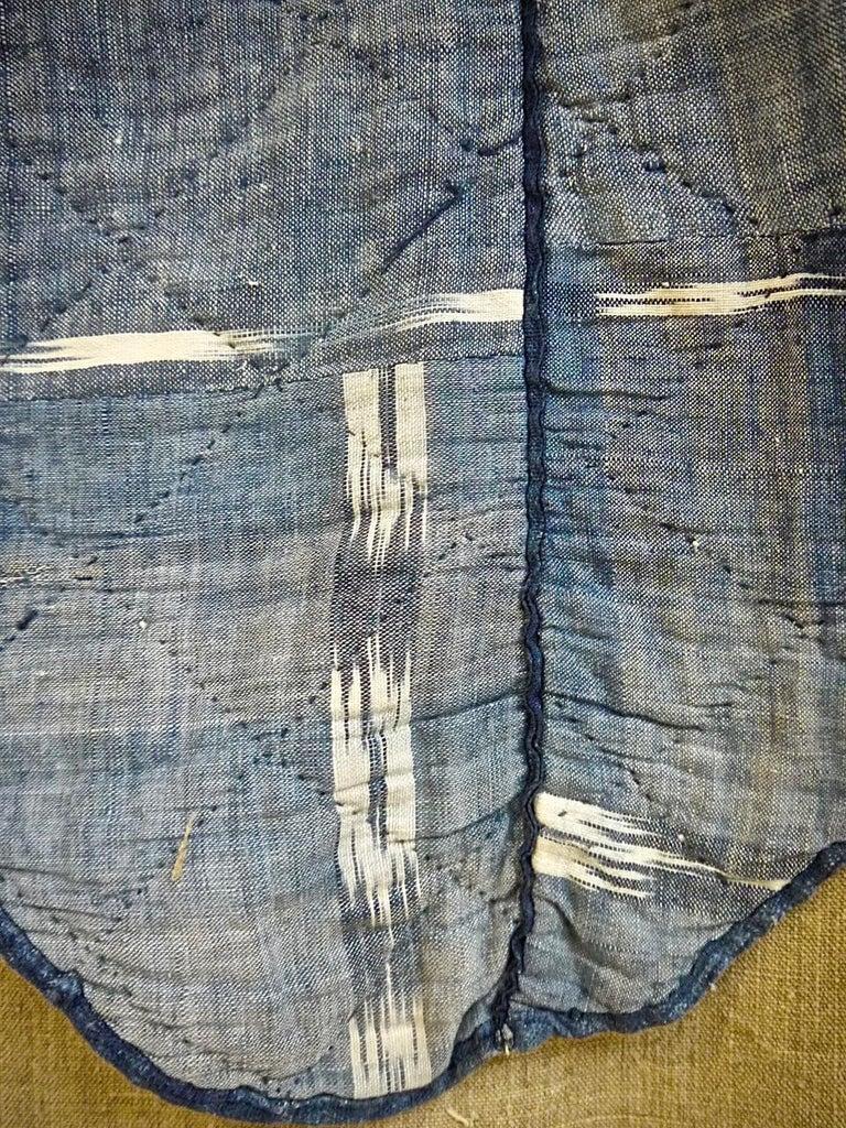 Indigo Flamme Ikat Cotton Pelmet French 19th Century For Sale 2
