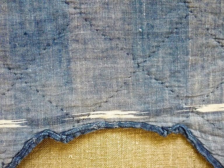 Indigo Flamme Ikat Cotton Pelmet French 19th Century For Sale 3