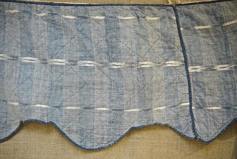 Indigo Flamme Ikat Cotton Pelmet French 19th Century For Sale 4