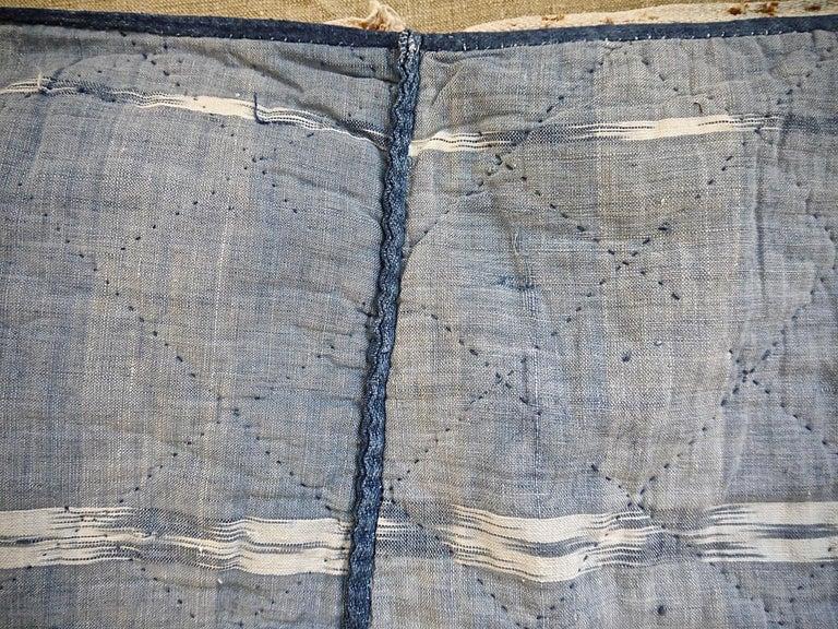 Indigo Flamme Ikat Cotton Pelmet French 19th Century For Sale 5