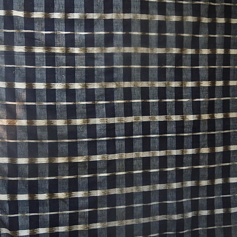 19th century French woven cotton flamme/ikat panel, an unusual variation that is woven with a brown yarn. A lightweight cloth that is in a good unused condition.