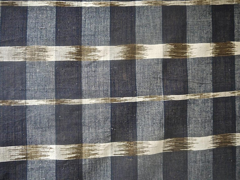 French Provincial Indigo Ikat Flamme Cotton Panel, French, 19th Century For Sale