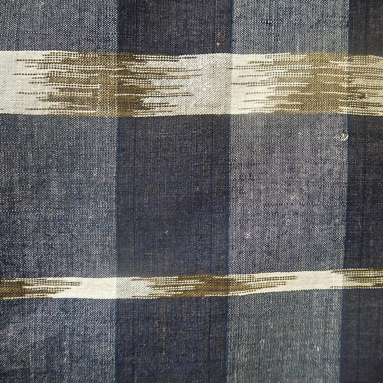 Indigo Ikat Flamme Cotton Panel, French, 19th Century In Good Condition For Sale In London, GB