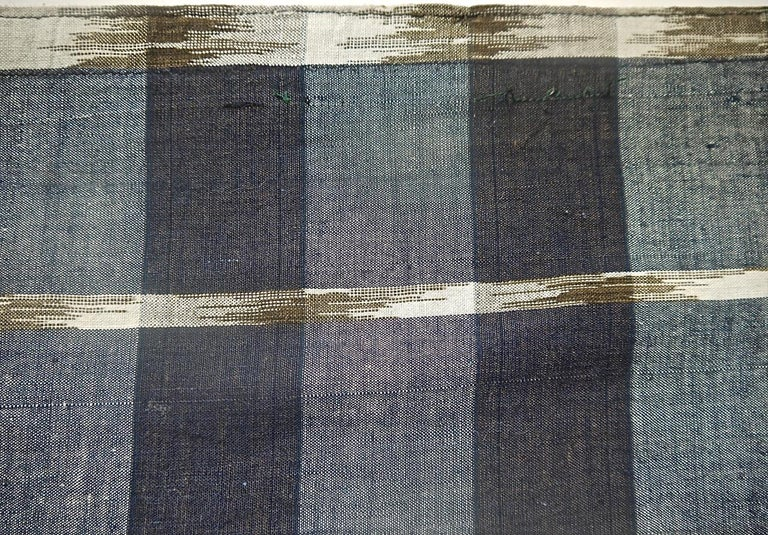 Indigo Ikat Flamme Cotton Panel, French, 19th Century For Sale 1