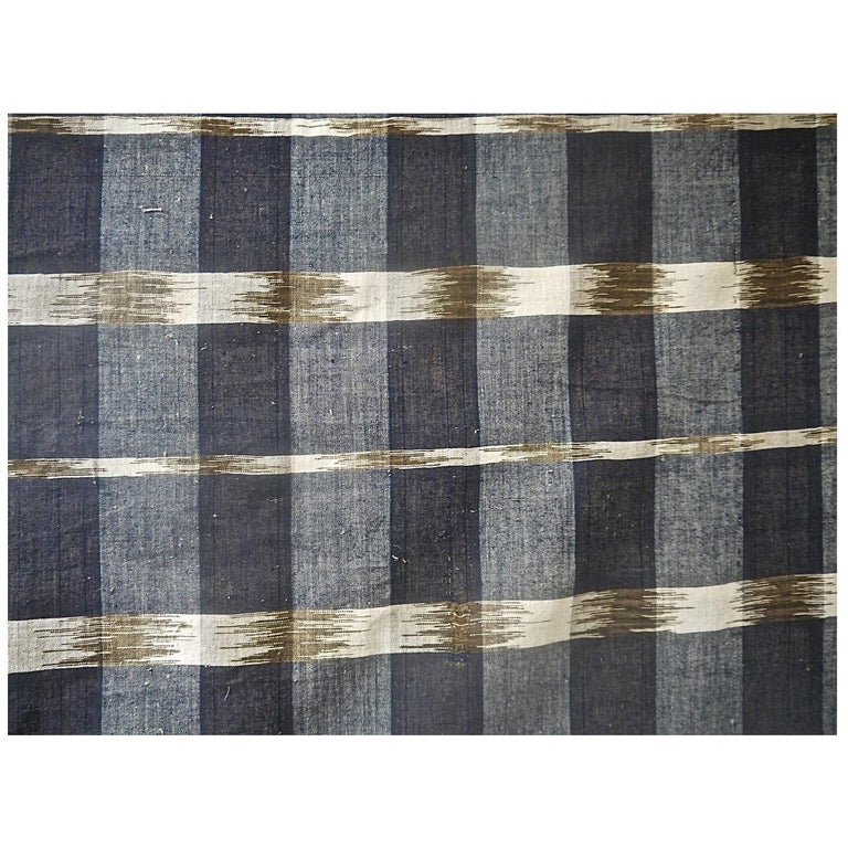 Indigo Ikat Flamme Cotton Panel, French, 19th Century For Sale