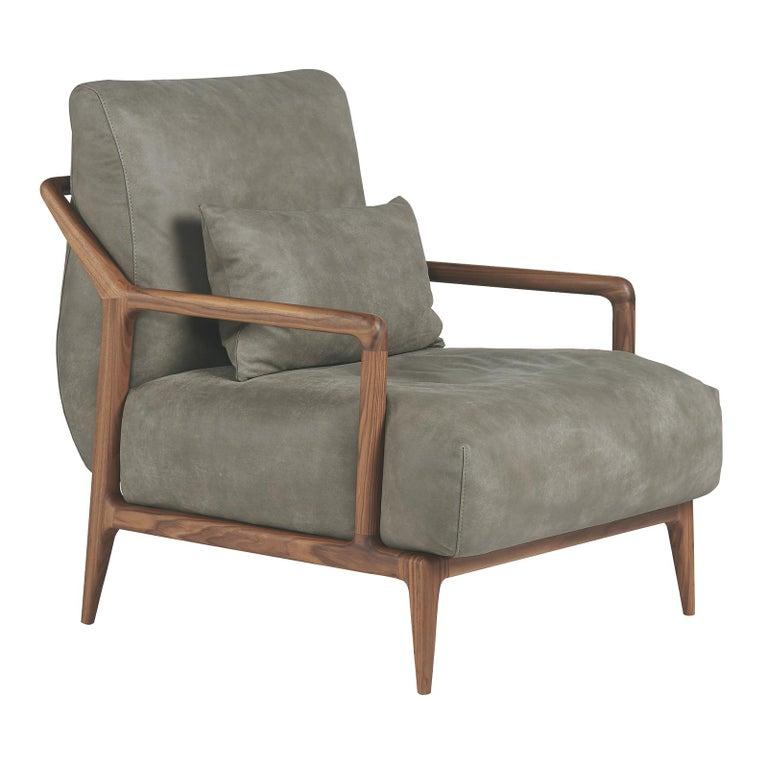 Indigo Leather Armchair For Sale