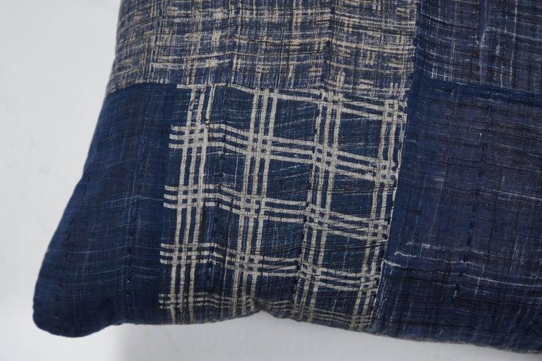 Indian Indigo Patchwork Pillow Blue For Sale