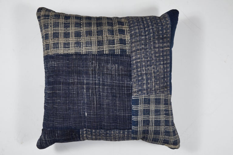 Indigo Patchwork Pillow Blue In New Condition For Sale In Los Angeles, CA