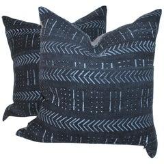 Indigo Rag Rug Pillows, Pair