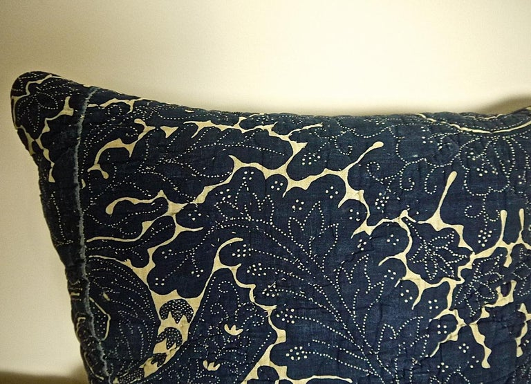French Provincial Indigo Resist Blockprinted Cotton Pillow, French, circa 1800 For Sale