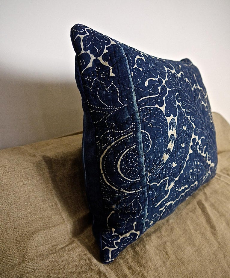Quilted Indigo Resist Blockprinted Cotton Pillow, French, circa 1800 For Sale