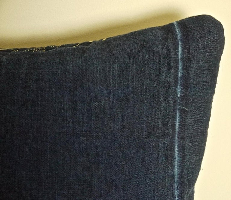 Indigo Resist Blockprinted Cotton Pillow, French, circa 1800 In Fair Condition For Sale In London, GB