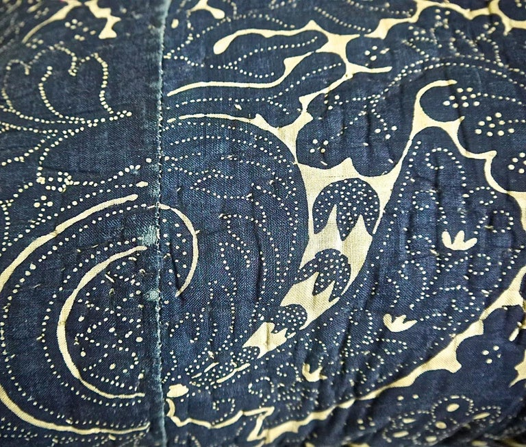19th Century Indigo Resist Block Printed Cotton Pillow French, circa 1800 For Sale