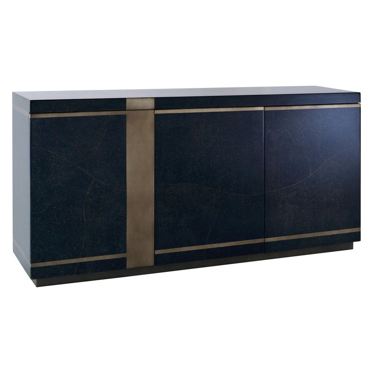 Indigo Skies Cabinet, Sideboard in Blue Parchment and Pewter Leaf, Shelves For Sale