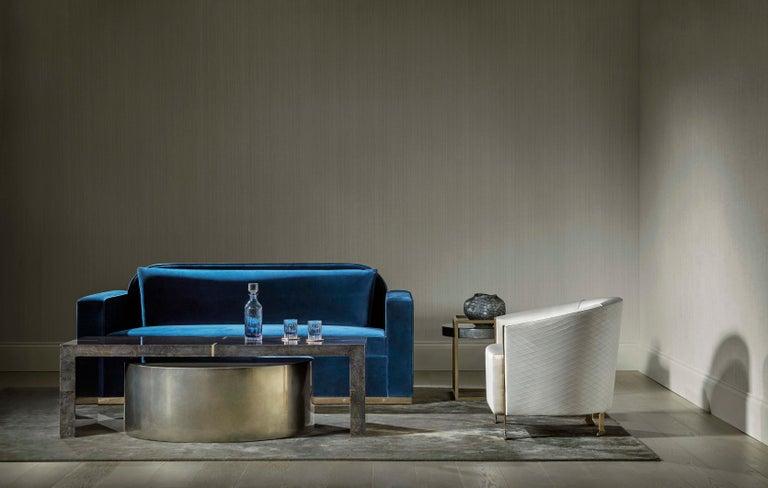 Indigo Skies Kaffeetisch, Großer Zweiteiliger Blau/Grauer und Bronze Tisch  5