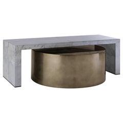 Indigo Skies Kaffeetisch, Großer Zweiteiliger Grauer und Bronze Tisch