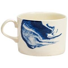 Indigo Storm Mug Blue Abstract Modern Tea or Coffee Cup Handmade in England