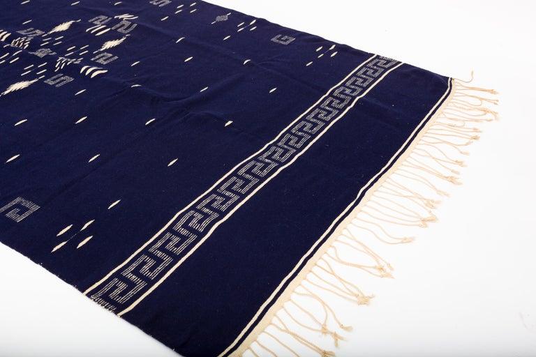 Hand-Woven Indigo Texcoco Mexican Wool Serape Blanket For Sale