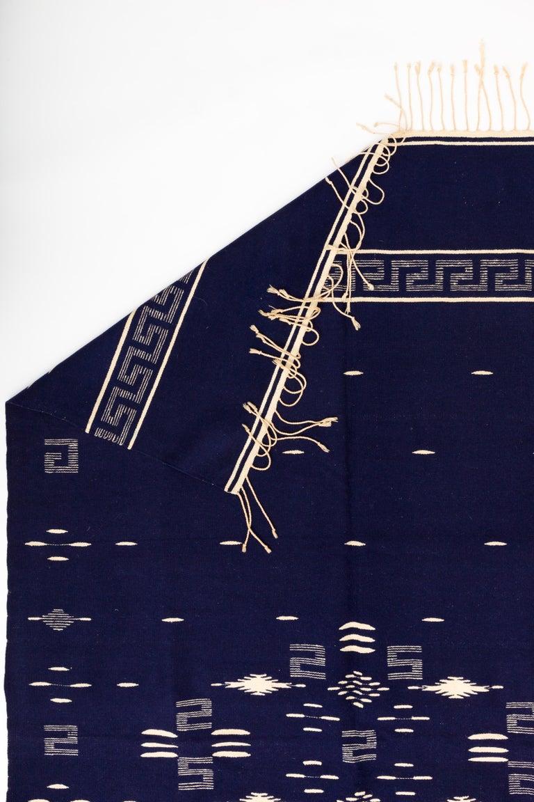 20th Century Indigo Texcoco Mexican Wool Serape Blanket For Sale