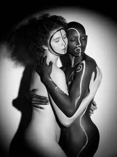 The Labyrinth Iyanna and Svala No 2, Black & White Photography, Aluminum, Signed