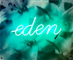Dreaming of Eden, Neon Sculpture on Acrylic Mounted Photograph, Unique, Signed