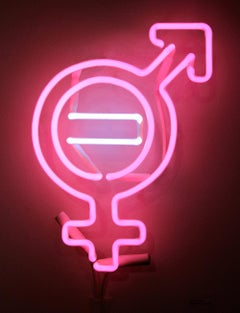 Equal Means Equal, Neon Sculpture Mounted on Plexiglass, Equality, Feminism