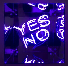 Pandora's Box (violet), Neon Sculpture Mounted in Mirrored Plexi Cube, Signed