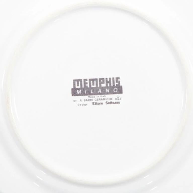 Modern Indivia Ceramic Plate, by Ettore Sottsass from Memphis Milano For Sale