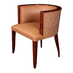 Individual Customizable Semicircular Chair with Low Backrest in Art Deco Style