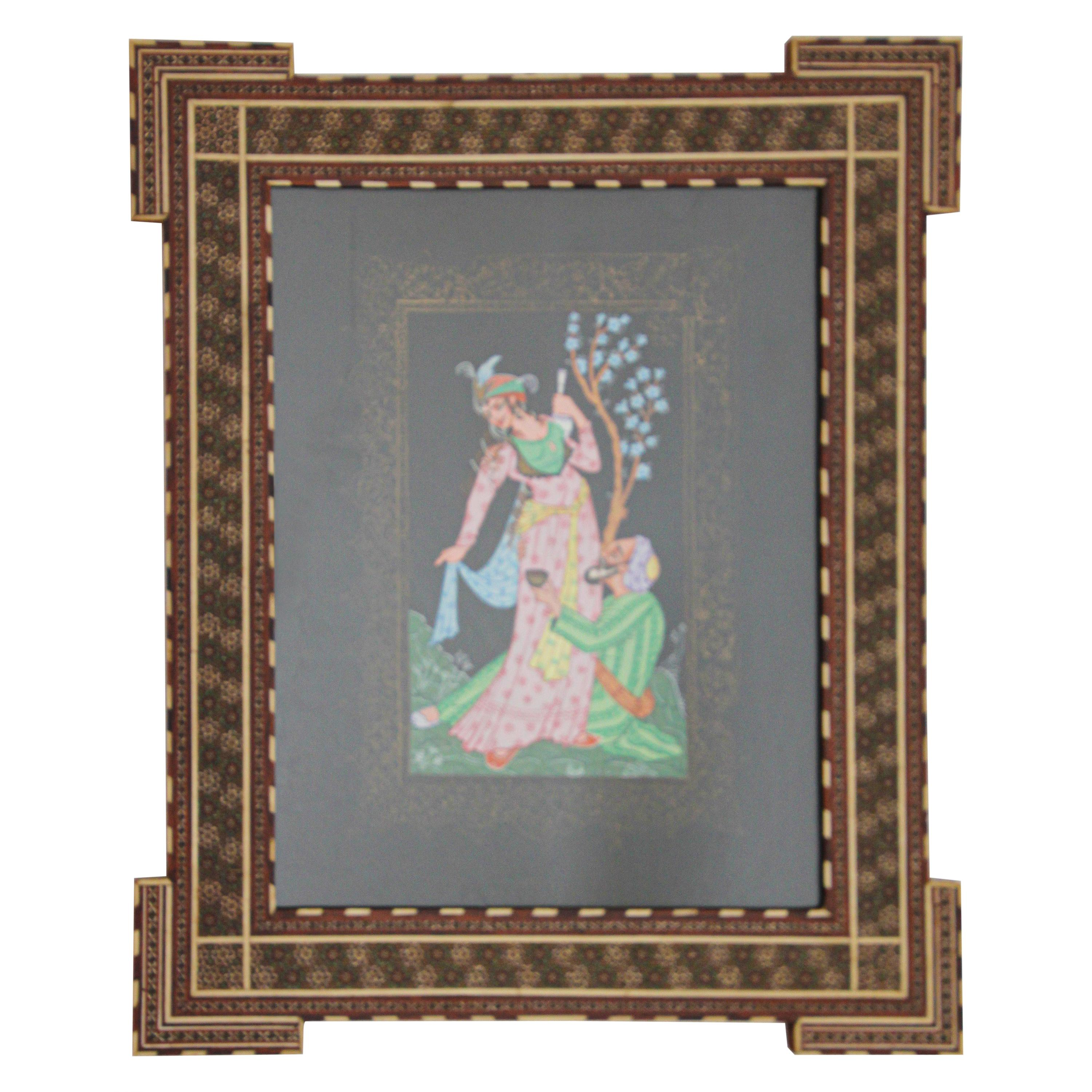 Indo Persian 19th Century Indian Mughal Scene Miniature Painting