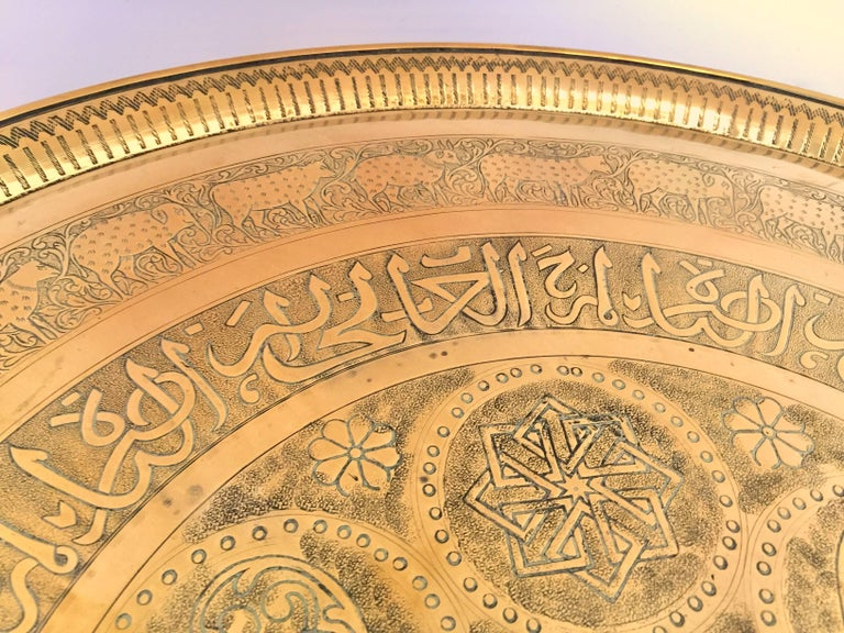 Indo-Persian Handcrafted Decorative Hammered Brass Tray For Sale 5