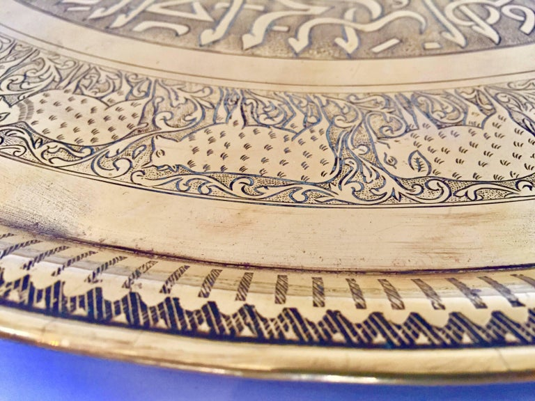Indo-Persian Handcrafted Decorative Hammered Brass Tray For Sale 6