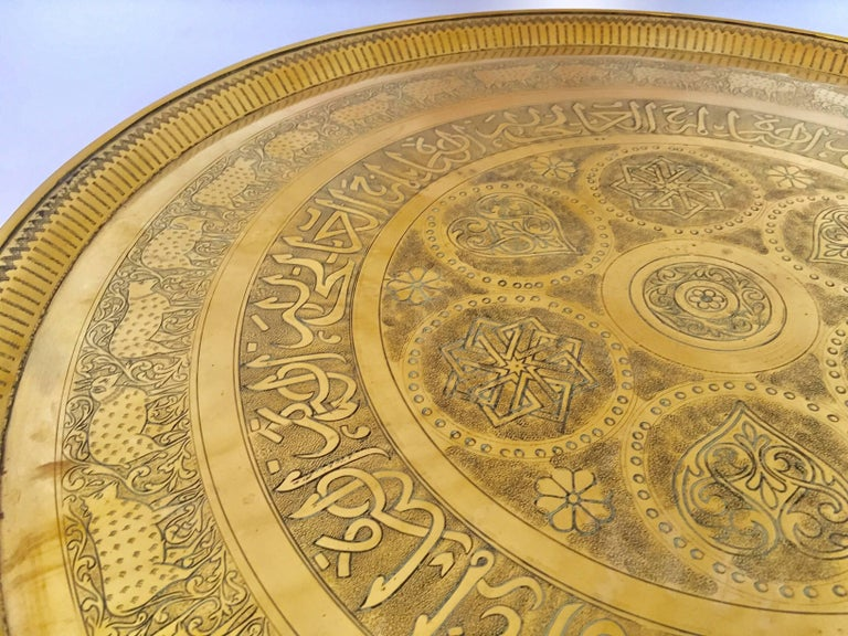 Indo-Persian Handcrafted Decorative Hammered Brass Tray In Good Condition For Sale In North Hollywood, CA